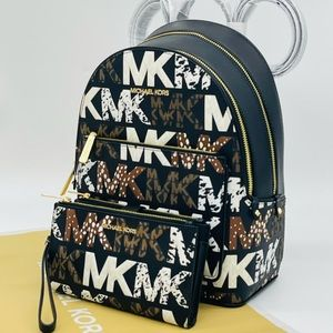 Michael Kors Medium Adina Backpack & Double Zip Wallet Wristlet Black Multi